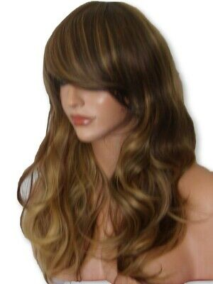 Brown Blonde Wig long curly natural wavy full head lady ladies hair wig P25
