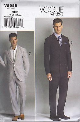 Vogue Sewing Pattern Men's Fitted unlined Jacket & Pants Sizes 34 - 46 V8988