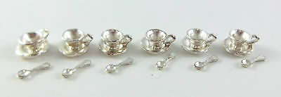 Dolls House Miniature Dining Accessory Mini Mundus 6 Silver Cup Saucer & Spoons