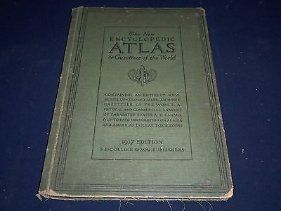 1917 THE NEW ENCYCLOPEDIC ATLAS GAZETTEER OF THE WORLD - COLOR MAPS - BV 421