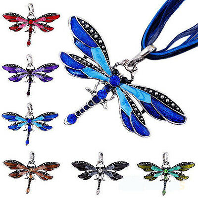 Anti-Silver Lady's Dragonfly Charms Pendant Necklace Chain Inlay Crystal Gemtone