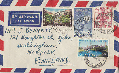 Stamps 1956 Australia Olympic Games set 4 cover sent airmail NOBBY to England
