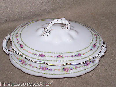 Antique Bassett Limoges Roses with Laurel Band Oval Handled Covered Serving Dish
