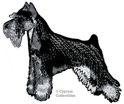 EMBROIDERED SCHNAUZER PATCH iron-on applique DOG MINIATURE STANDARD GIANT BLACK