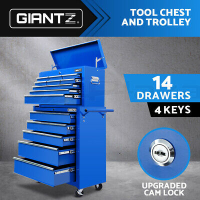 Giantz 14 Drawers Mechanic Tool Box Chest Cabinet Trolley Roller Toolbox Storage
