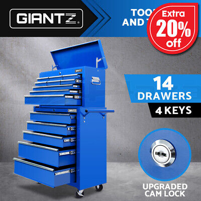 Giantz 14 Drawers Tool Box Chest Toolbox Cabinet Trolley Boxes Garage Storage