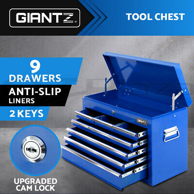 Giantz 9 Drawers Mechanic Tool Box Storage Chest Cabinet Trolley Roller Toolbox