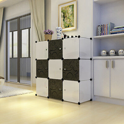 Plastic Wardrobe Cupboard Bookshelf Storage Organizer Shelf Black & White LPC33W