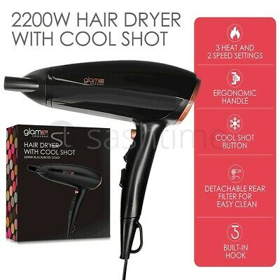 New Red Hot Professional Style Hair Dryer 2200W Nozzle Concentrator Hairdryer UK