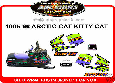Kitty Cat Decal Set, Arctic Cat, Sled, Graphics, 1995 1996