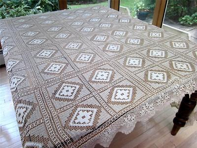 Antique Needle Lace Filet Holiday Tablecloth Dated 1912 Home Sweet Home OOAK Exc