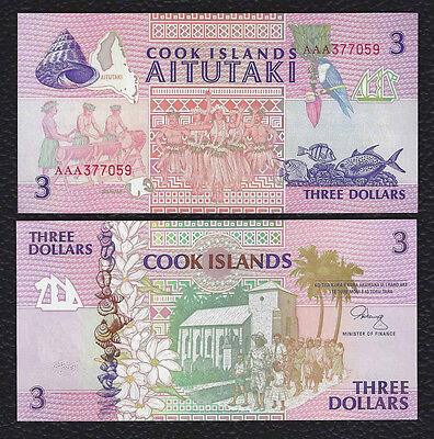 Cook Islands P-7  ND(1992)   3  Dollars-Crisp Uncirculated