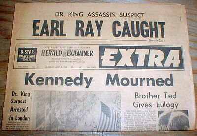 1968 display newspaper ASSASSIN of slain Black leadr MARTIN LUTHER KING captured