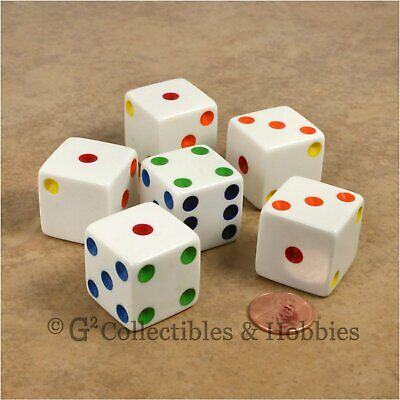NEW Set of 6 Jumbo 25mm 1 inch White w/ Multi-Color Pips Dice RPG Board Game D6