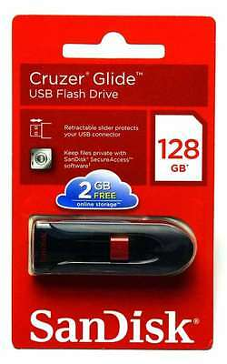 SanDisk 128G Cruzer Glide 128GB USB 2.0 Flash Thumb Pen Drive CZ60 Retail Pack
