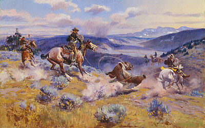 Loops and Swift Horses Charles M. Russell Cowboys Wüste Prärie Jagd B A3 00008
