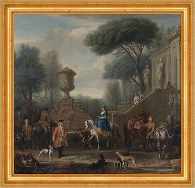 Preparing for the Hunt John Wootton Jagen Pferde Reiten Tiere Adel B A3 00066