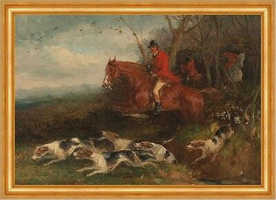 Foxhunting: Breaking Cover William J. Shayer Jagd Füchse Pferde Hunde B A3 00102