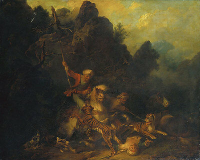 Tiger Hunt Bourgeois, Sir Peter Francis Tiere Tiger Pferde Lanze B A3 00127