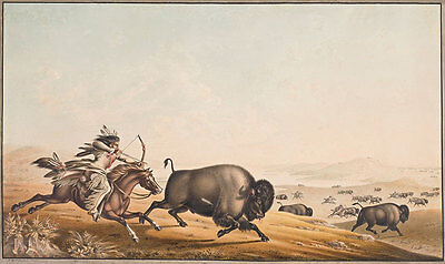 Assiniboine Hunting on Horseback Peter Rindisbacher Reiter Indianer B A3 00137