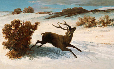Deer Running in the Snow Gustave COURBET Hirsch Geweih Tiere Schnee B A3 00141