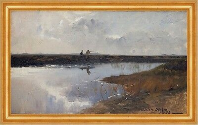 Hunters on the moor north of Skagen Adrian Stokes Moor Jäger Gewehr B A3 00149