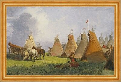 Camp of the Red River Hunters John Mix Stanley Indianer Tipis Lager B A3 00151