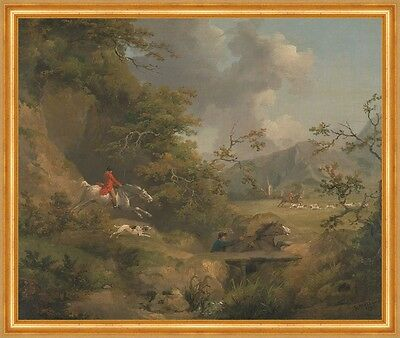 Foxhunting in Hilly Country George Morland Fuchsjagd Pferde Hunde B A2 00146