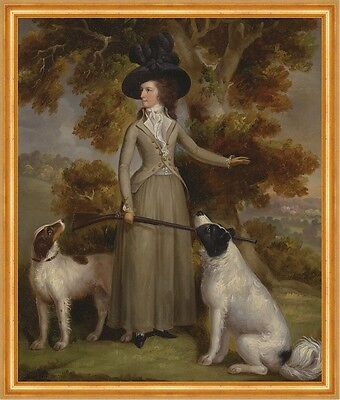 The Countess of Effingham with Gun and Shooting Dogs Jägerin Haugh B A2 00166