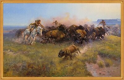 The Buffalo Hunt No. 39 Charles M. Russell Indianer Büffel Jagd B A1 00124