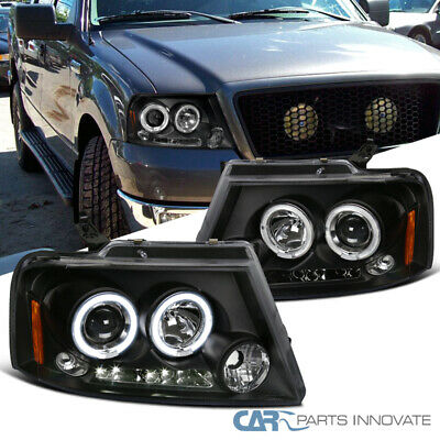 04-08 Ford F150 06-08 Lincoln Mark LT LED Halo Projector Black Headlights Lamps