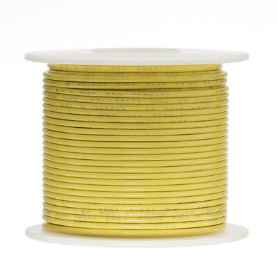 "18 AWG Gauge Stranded Hook Up Wire Yellow 100 ft 0.0403"" UL1007 300 Volts"
