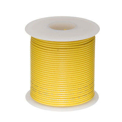 """22 AWG Gauge Stranded Hook Up Wire Yellow 100 ft 0.0253"""" UL1007 300 Volts"""
