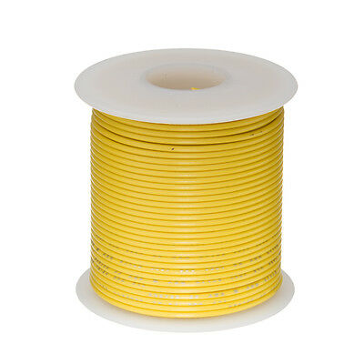 """28 AWG Gauge Stranded Hook Up Wire Yellow 100 ft 0.0126"""" UL1007 300 Volts"""