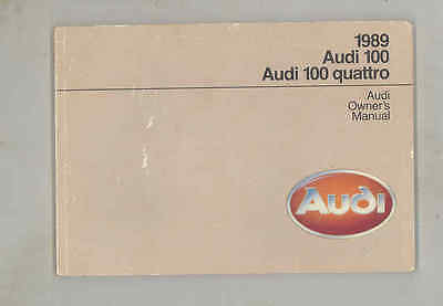 1988 Audi 100 & Quattro ORIGINAL Owner's Manual wu4346