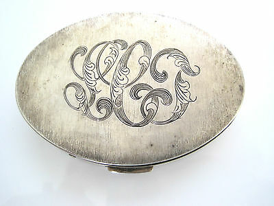 "Victorian Sterling Silver Oval Trinket Snuff Pill Box Mono ""LCJ"" 51.8g Etched"