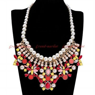 Fashion Golden Chain White Crystal Pearl Red Resin Choker Statement Bib Necklace