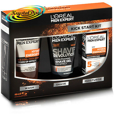Loreal The Kick Start Kit Hydra Energetic Cream Face Wash Gel Xmas Gift Set Men