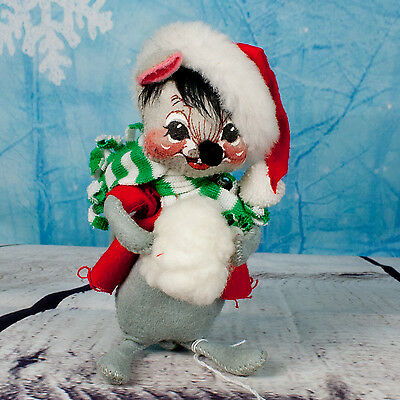 "Annalee Christmas Doll 7"" Mouse With Muff Green Scarf - Missing Tag"