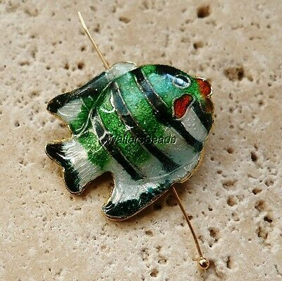 Fish Cloisonne Charm Bead With Hole Drilled Green Silver  Gold Enamel 34 MM