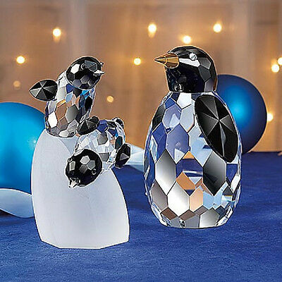 LARGE CRYSTAL Penguin Babies FIGURINE birds NEW In Box Penguins Twins
