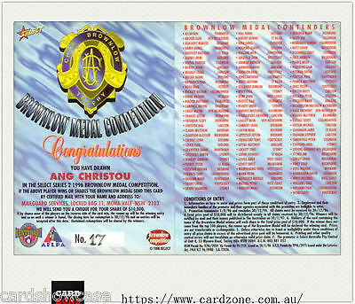 1996 Select AFL Series2 Brownlow Medal Competition Card Ang Christou(Carlton)