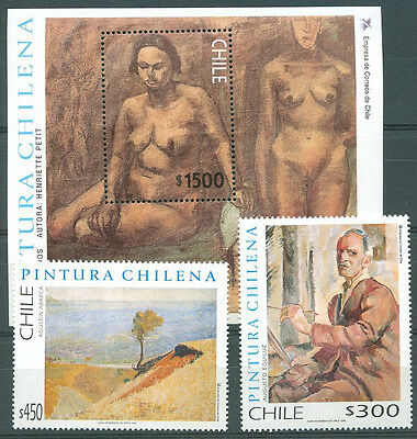 CHILE - PAINTING Yvert # 1467/8 + Bl 55 Complete Set MNH VF