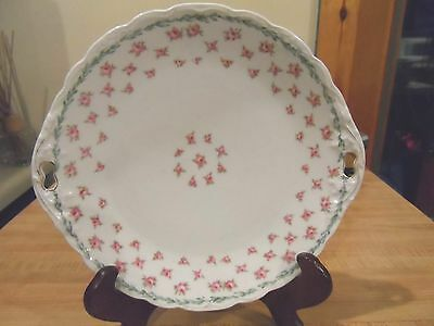 Vintage Handled Cake Plate w/Pink Roses-KPM-Germany