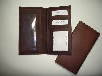 100% Genuine Leather-Checkbook cover Brown (Hand Crafted)