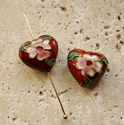 Heart Cloisonne Charm Beads With Hole Pink Flower  Gold Ename 16 MM (2)