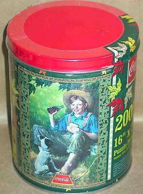 NEW Coca Cola 200 Pc Puzzle in Sealed Tin Barefoot Boy Under Tree