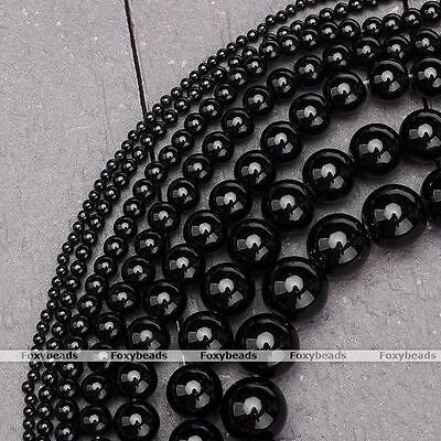 "1Strand 14-16"" Natural Black Agate Onyx Gemstone Round Loose Spacer Beads 2-12mm"