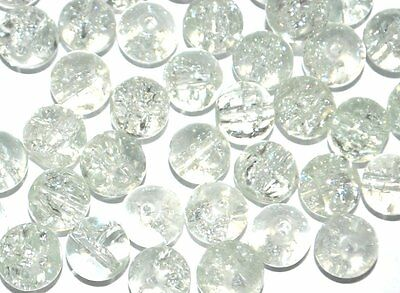 COLOURED GLASS ROUND CRACKLE CRAFT BEADS 4mm 6mm 8mm - CLEAR / TRANSPARENT