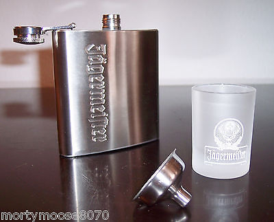 Jagermeister Stainless Steel Flask, Funnel & Frosted Shot Glass Free Shipping